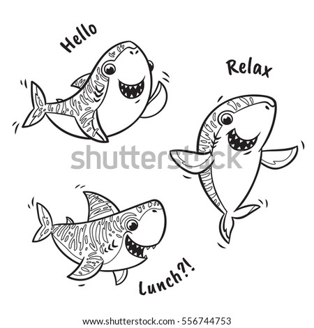 Collection Of Black And White Shark Cartoon Characters Hand Drawn Vector Illustration Ink Doodle