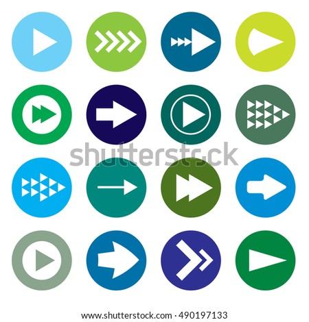 Collection of blue green icon arrows with different shades