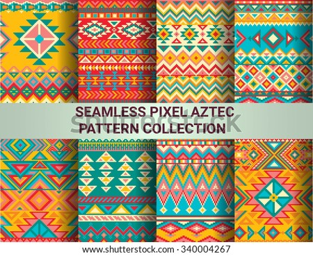 Collection of bright seamless pixel patterns in tribal style. Aztec geometric triangle and chevron patterns