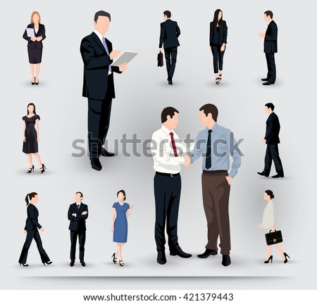 Collection of business people illustrations in different poses and interactions