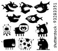 Collection of cartoon funny sharks and cows silhouettes - stock vector