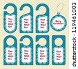 Collection of Christmas Hotel Door Hangers - Do not disturb - stock vector