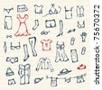 Collection of clothes sketch for your design - stock vector