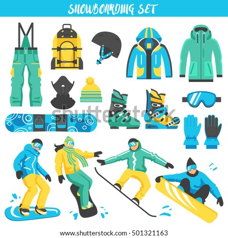 Collection of colored decorative icons with sports clothes accessories and equipment  for snowboarding isolated vector illustration