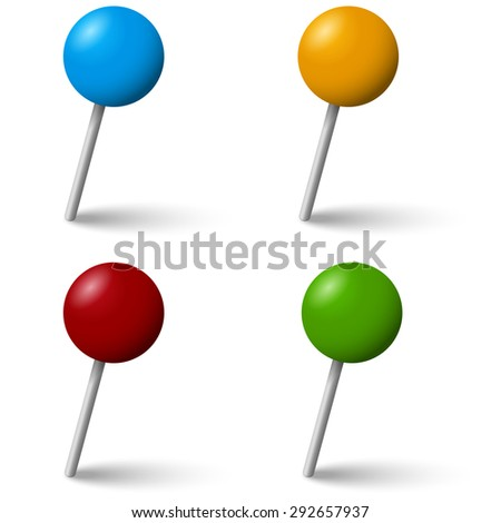 collection of colored pin needles with shadow