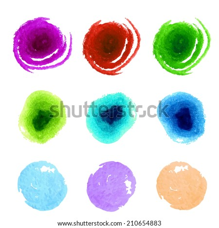 Collection of colorful paint swatches. Abstract artistic vector background.