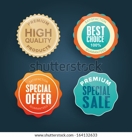 Collection of colorful quality and satisfaction guarantee label, badges