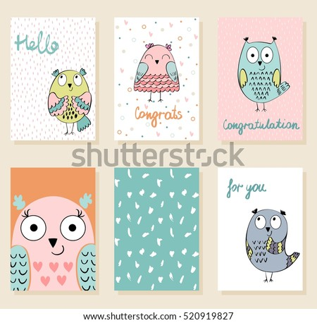 Collection of cute artistic cards for kids. Funny owls in vector.