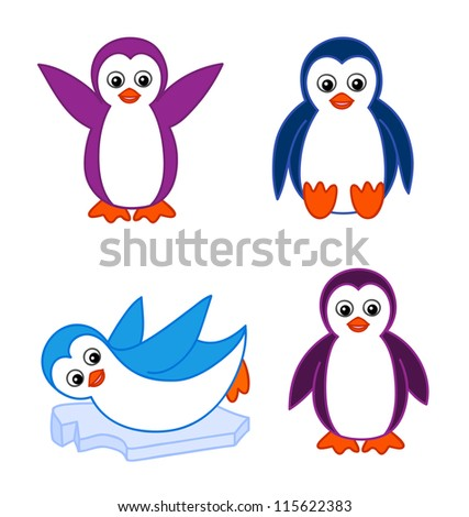 Cartoon penguins holding hands - photo#31