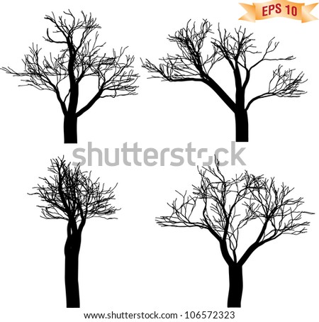 Collection of die tree silhouette