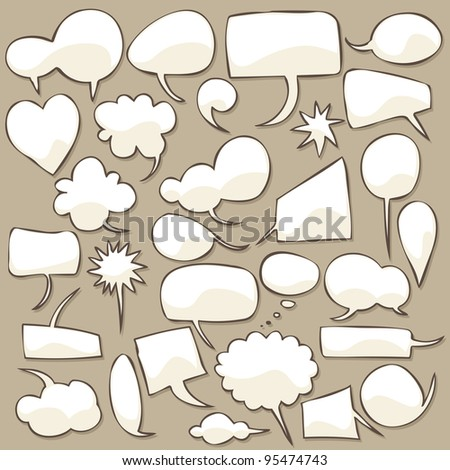 Collection of different shaped speech bubbles.