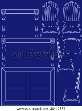 Modern living room furniture vector multiple vectores en stock collection of dining room furniture in blueprint vector style malvernweather Image collections
