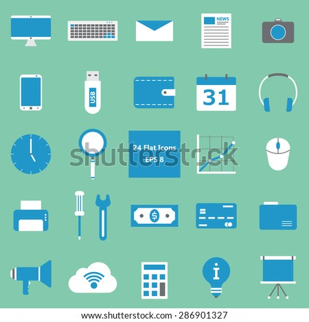 Collection of 24 flat style icons. Vector EPS8