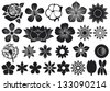 collection of flowers (flower set, lotus flower, dandelion, cherry blossom flower, rose, cotton, tulip, violet, hibiscus) - stock vector