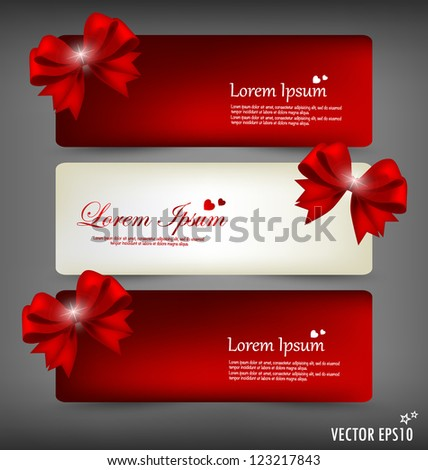 Collection of gift cards and invitations with ribbons. Vector illustration.
