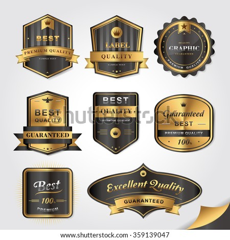 collection of gorgeous golden labels design set