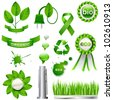 Collection of green eco-icons - stock