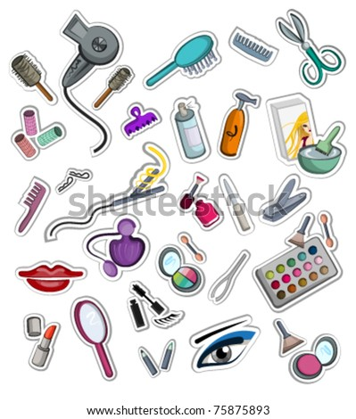 collection of hairdressing, coiffure and make-up accessories stickers. set of vector objects isolated on white background