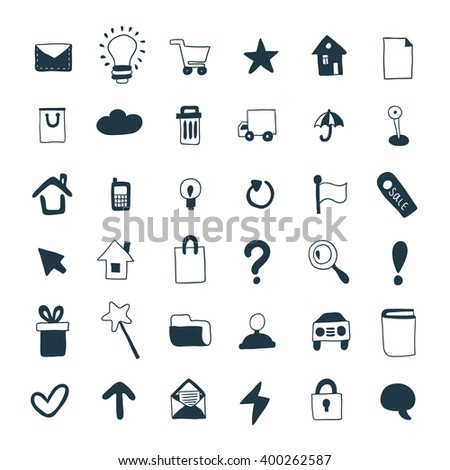 Collection of hand drawn icons. Doodle web icon set.