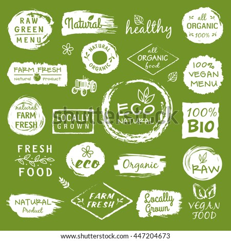 Collection of healthy organic food labels, logos for restaurants, vegan cafe, farm market and organic products packaging