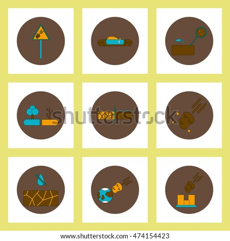 Collection of icons in flat style drought cataclysm
