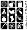 Collection of Isolated Christmas Icons on Black Background, Vector Illustration - stock vector