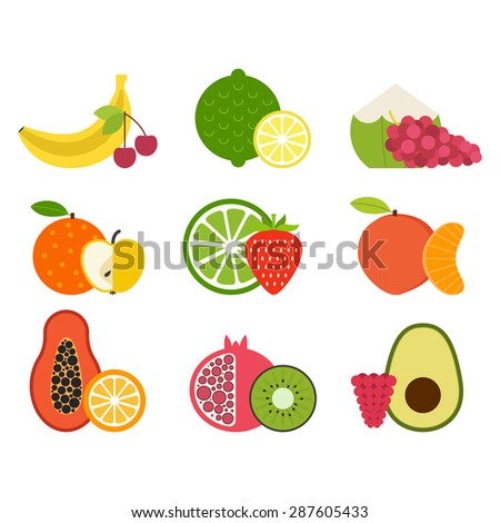 Collection of juicy fresh healthy fruits made in flat style - each one is isolated for easy use. Healthy lifestyle or diet vector design element. Organic farm illustration.