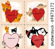 collection of kittens with the heart. love. similar to the portfolio - stock vector