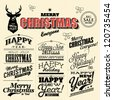 Collection of Merry Christmas and Happy New Year Labels with retro vintage styled design for postcard, invitation, poster and others Decoration collection - stock vector