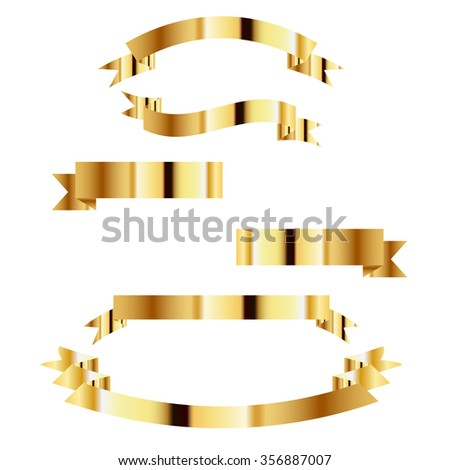 Collection of Metallic ribbon, Gold set
