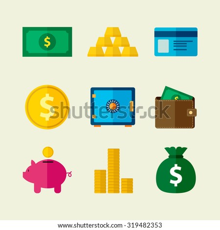 Collection of money flat icons in vector illustration