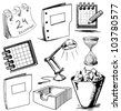 Collection of office objects. Hand drawing sketch vector illustration - stock vector