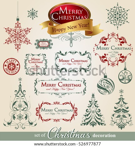 Collection of ornamental Christmas decorations in vintage style