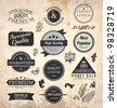 Collection of Premium Quality and Guarantee Labels with retro vintage styled design and old paper grunge texture - stock vector