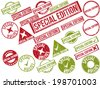 "Collection of 22 red grunge rubber stamps with text ""SPECIAL EDITION"" . Vector illustration - stock vector"