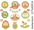 Collection of retro baby design labels, symbols and elements. - stock vector