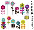 Collection of Retro or Mod Style Vector Flowers - stock vector