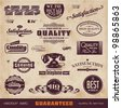 collection of retro premium quality and service guarantee labels - stock photo