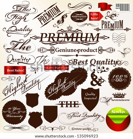 Collection of ribbons, labels premium, best and original quality in retro style