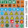 Collection of 38 safety and warning signs - stock vector