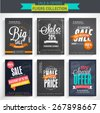 Collection of Sale Flyers with different discount offers, created on chalkboard background. - stock vector