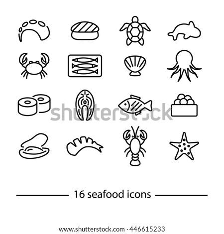 collection of seafood line icons