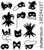 Collection of silhouettes of carnival masks - stock photo