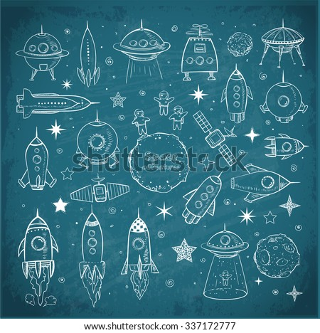 Collection of sketchy space objects on blackboard background.. Space ships, rockets, space shuttle, planets, flying saucers, astronauts etc.