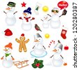 Collection Of Snowmen And Christmas Icons, Isolated On White Background With Gradient Mesh, Vector Illustration - stock photo