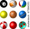 Collection of Sport and game balls illustration vector - snooker, pool, beachball, tennis, basket, cricket, play, bowling balls. - stock vector