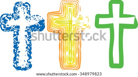 Collection of three abstract artistic color art crosses for Lent or Easter, or any other use. Separated for easy use.
