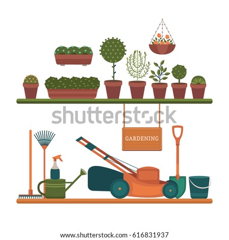 Farm set stock vector 274278845 shutterstock for Different tools and equipment in horticulture