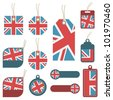collection of united kingdom tags isolated on white - stock vector