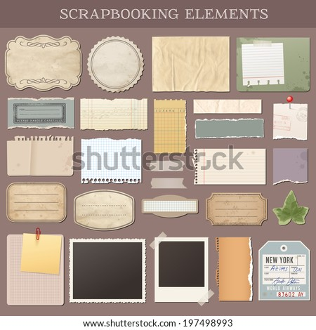 Collection of various scrap booking vector elements